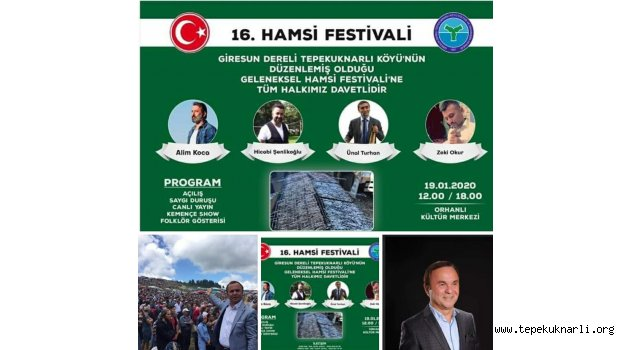 Tepeküknarlı Köyü 16. Hamsi Festivali 19 Ocak 2020'de Yapılacak